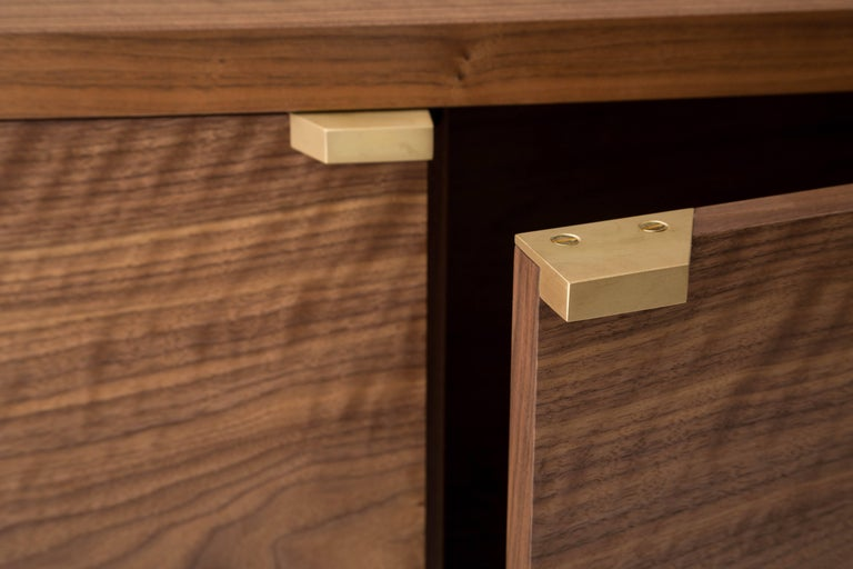 American Marvin Credenza, Walnut and Brass, Four-Door, Customizable For Sale