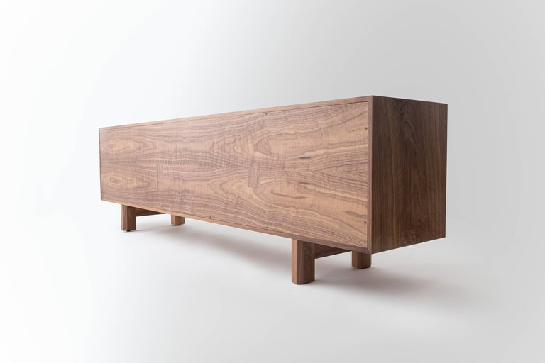 Marvin Credenza, Walnut and Brass, Four-Door, Customizable In New Condition For Sale In Louisville, KY