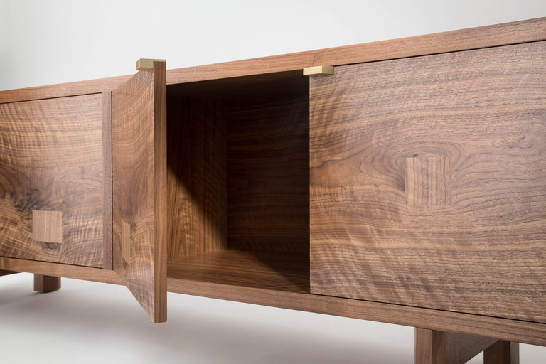 Oiled Marvin Credenza, Walnut and Brass, Four-Door, Customizable For Sale