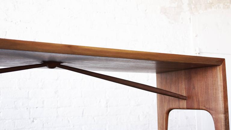 Mid-Century Modern C09 Solid Walnut Bench with Angled Spindles by Jason Lewis Furniture For Sale