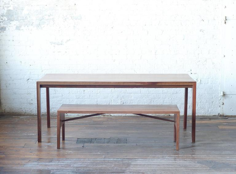 Hand-Carved C09 Solid Walnut Bench with Angled Spindles by Jason Lewis Furniture For Sale