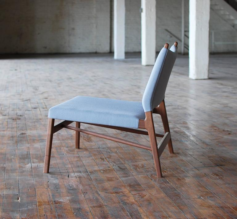 American C05 Lounge Chair by Jason Lewis, Solid Walnut with Wool Upholstery For Sale