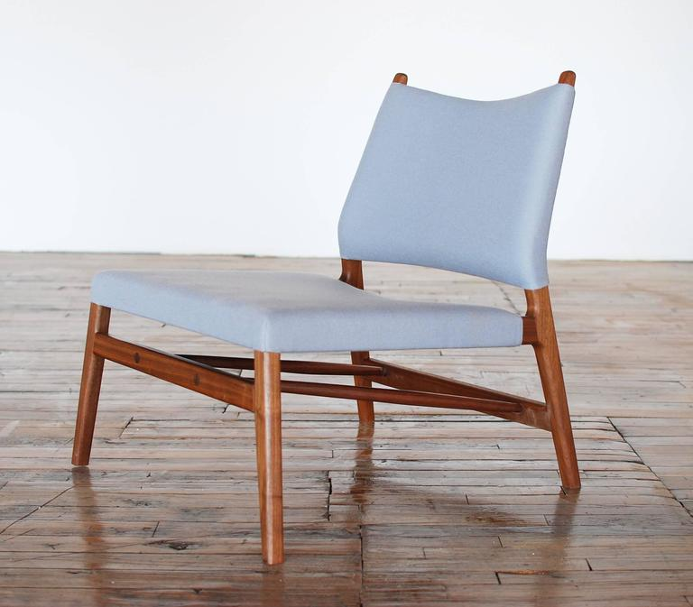 American Modern C05 Lounge Chair by Jason Lewis, Solid Walnut with Wool Upholstery For Sale