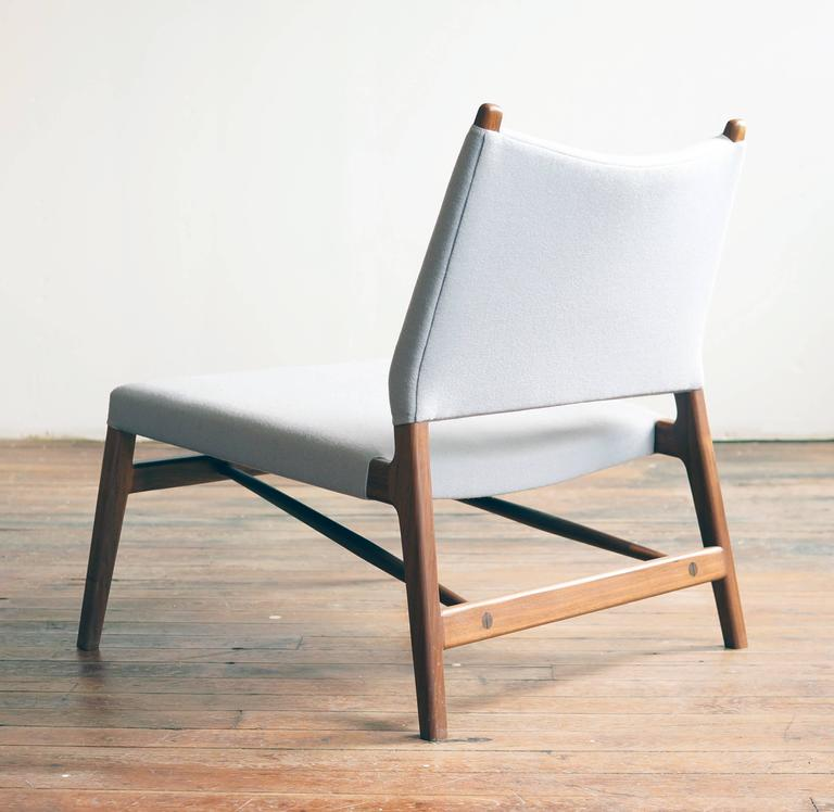 Oiled C05 Lounge Chair by Jason Lewis, Solid Walnut with Wool Upholstery For Sale