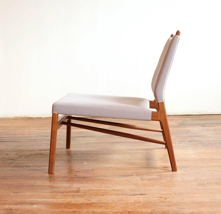 Contemporary C05 Lounge Chair by Jason Lewis, Solid Walnut with Wool Upholstery For Sale