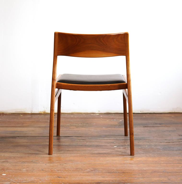 C03. Solid Walnut Dining Chair With Leather Seat By Jason