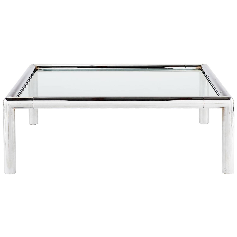 1970s Italian Tubular Chrome Glass Coffee Table For Sale at 1stdibs