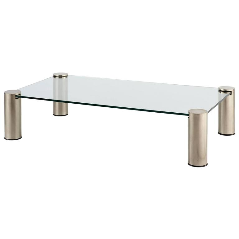 Vintage Mid Century Belgian Chrome Glass Coffee Table For Sale