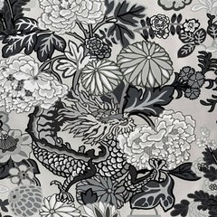 Schumacher Chiang Mai Dragon Floral Art Deco Smoke Wallpaper Three Roll Set