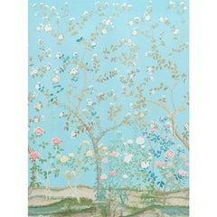 Schumacher Madame De Pompadour Floral Aqua Wallpaper Panel Set