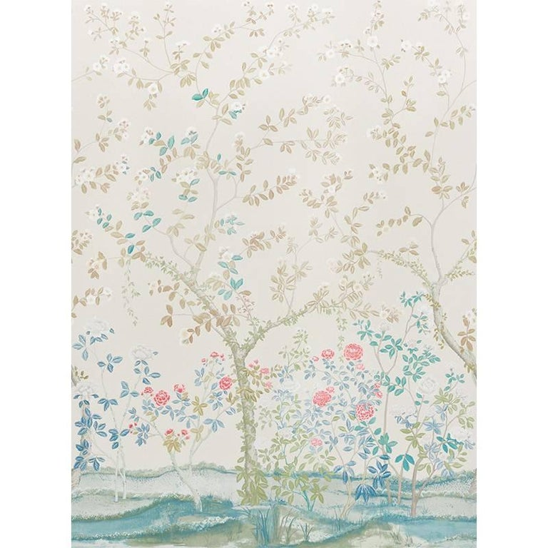 Schumacher Miles Redd Madame de Pompadour Floral Alabaster Wallpaper Panel Unit