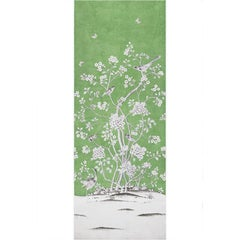 Schumacher Mary McDonald Chinois Palais Floral Lettuce Green Wallpaper Panel