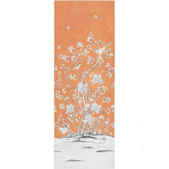 Schumacher Mary McDonald Chinois Palais Floral Tangerine Wallpaper Panel