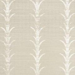 Schumacher Celerie Kimble Acanthus Stripe Hand Printed Grasscloth Fog Wallpaper