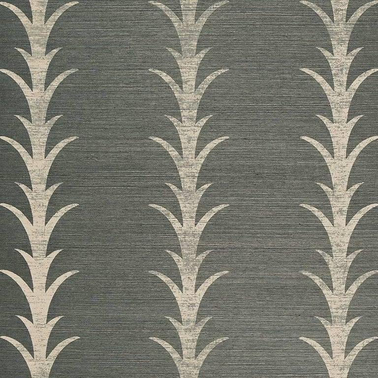 Patterned Grasscloth Wallpaper: Schumacher Celerie Kemble Acanthus Stripe Printed