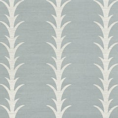 Schumacher Celerie Kimble Acanthus Stripe Hand Printed Sisal Chambray Wallpaper