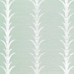 Schumacher Celerie Kimble Acanthus Stripe Hand Printed Sisal Sea Glass Wallpaper