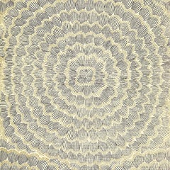 Schumacher Feather Bloom Hand Printed Floral Natural Sisal Onyx Gold Wallpaper