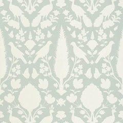 Schumacher Chenonceau Floral Damask Surface Printed Aquamarine Wallpaper