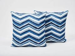 "Schumacher Shasta Embroidery Chevon Striped Blue Double-Sided 18"" Pillow"