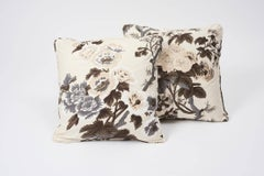 """Schumacher Pyne Hollyhock Floral Chintz Charcoal Cotton Double-Sided 18"""" Pillow"""