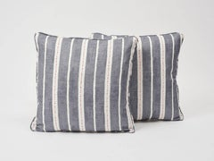 """Schumacher Amour Stripe Linen Charcoal White Double-Sided 18"""" Pillow"""