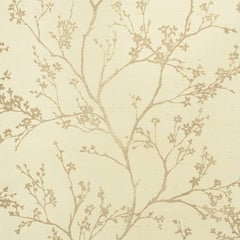 Schumacher Twiggy Sisal Floral Embellished Hand-Printed Gold on Ivory Wallpaper