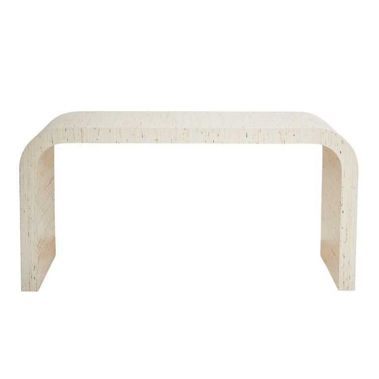 Schumacher Jinan Arrowroot Weave Textured Fabric-Wrapped Dynasty Console Table For Sale