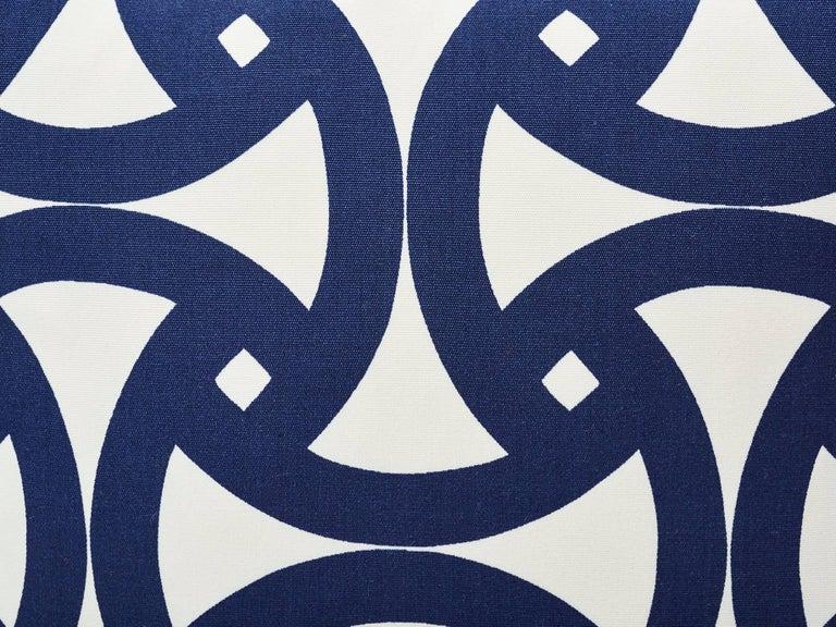 Modern Schumacher Santorini Indoor/Outdoor Geometric Marine Blue Two-Sided 18