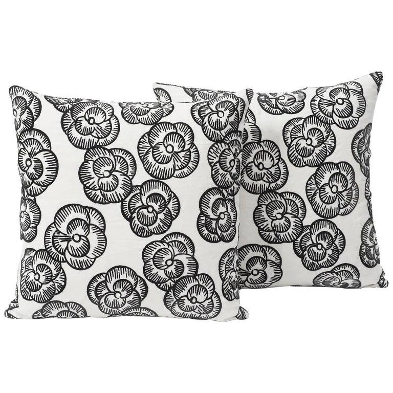 Indian Schumacher Vogue Living Mona Floral Embroidered Blackwork Two-Sided 18