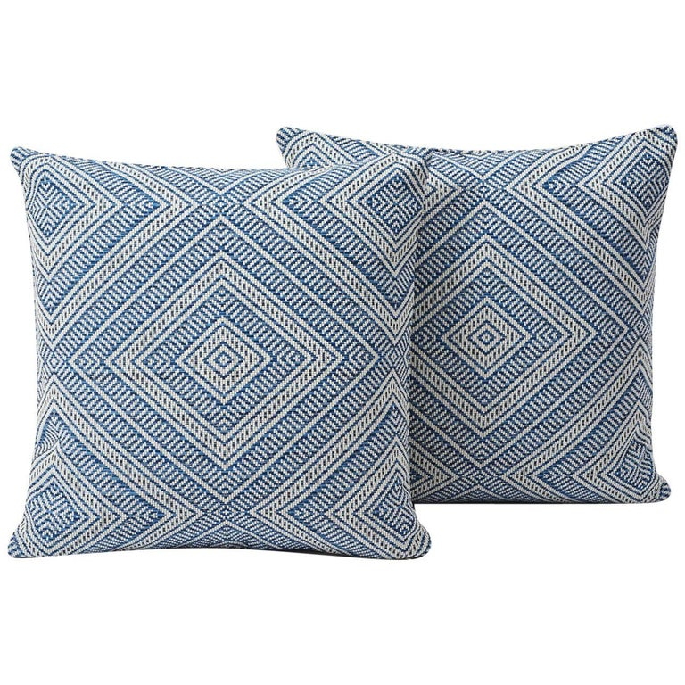 French Schumacher Tortola Diamond Woven Indoor/Outdoor Two-Sided Pillow