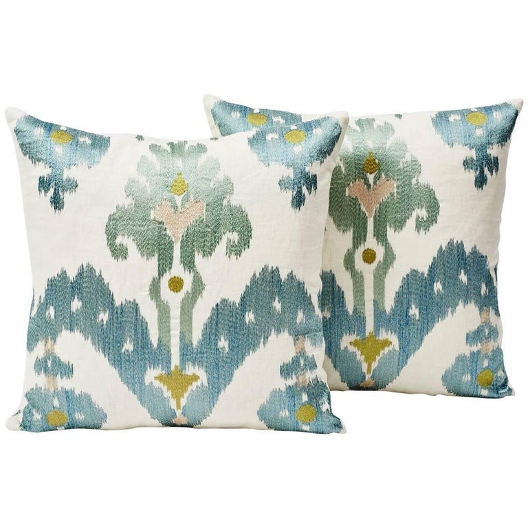 Schumacher Raja Embroidery Asian Ikat-Inspired Sky Blue Two-Sided Pillow In New Condition For Sale In New York, NY