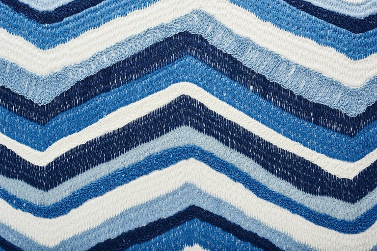 Modern Schumacher Shasta Embroidery Chevron Striped Blue Two-Sided 18