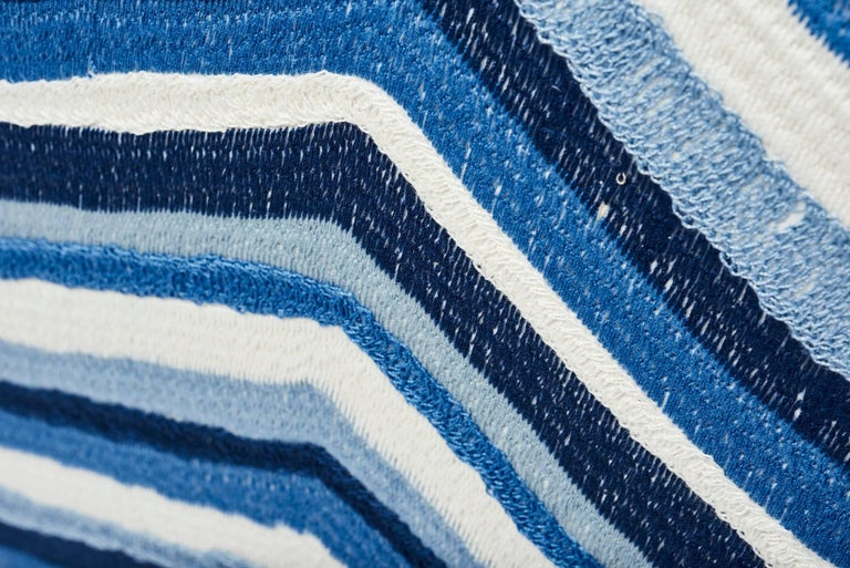 Indian Schumacher Shasta Embroidery Chevron Striped Blue Two-Sided 18