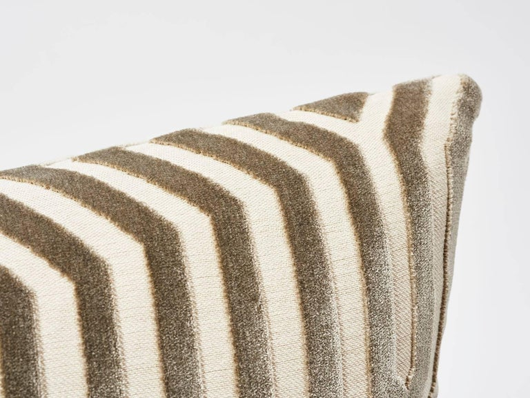 A large-scale, linear Schumacher design gives this Italian cut velvet fabric a graphic sensibility. In collaboration with Mary McDonald, the silky viscose pile adds extra dimension and a luxurious hand to this upholstery woven pillow. This