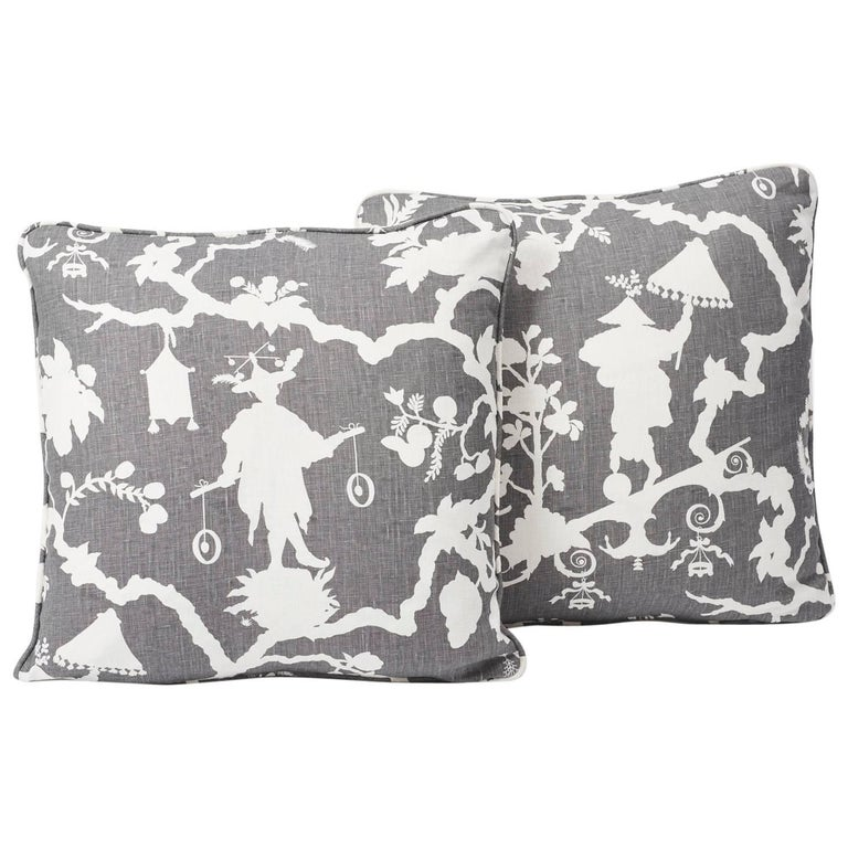 American Schumacher Shantung Silhouette Chinoiserie Smoke Gray Two-Sided 18