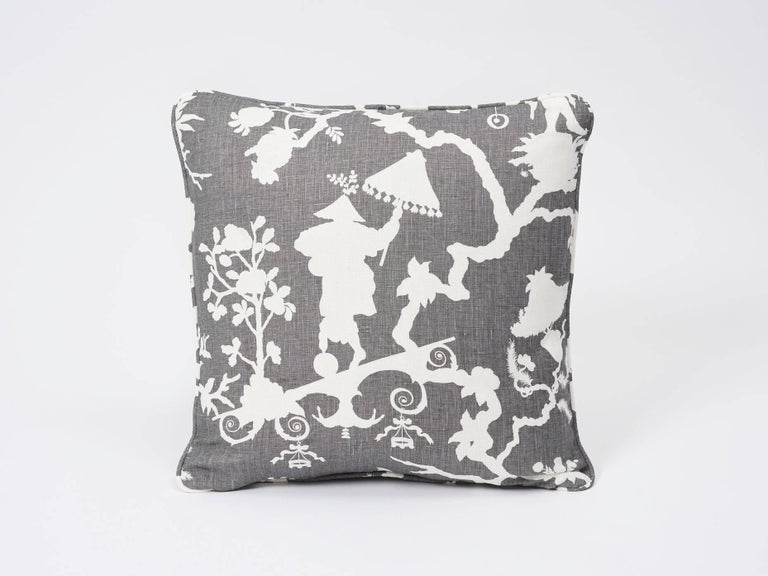 With classic chinoiserie motifs rethought as a modern silhouette pattern, this Shantung Silhouette design brings whimsy and a fresh, graphic upgrade to any interior or setting! In a smoke grey color way, this decorative accent is as versatile as it