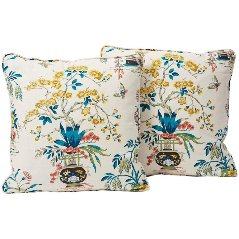 Contemporary Schumacher Ming Vase Traditional Motif Multi-Color Two-Sided Pillow For Sale