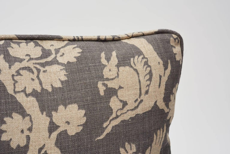 A charming of-the-moment print, Woodland Silhouette is inspired by an early 20th century document. It is printed on a slubbed linen that gives it a lovely antique quality. Featured as a Schumacher decorative accent, this is sure to timelessly