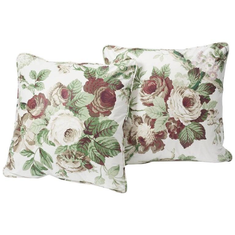 Contemporary Schumacher Vogue Living Nancy Grisaille Floral Glazed Cotton 18