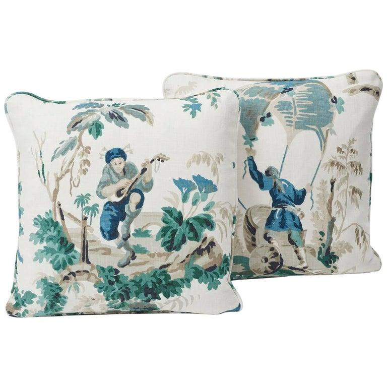 Contemporary Schumacher Plaisirs De La Chine Pastoral Emerald Green Linen Two-Sided Pillow For Sale
