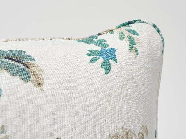 Modern Schumacher Plaisirs De La Chine Pastoral Emerald Green Linen Two-Sided Pillow For Sale
