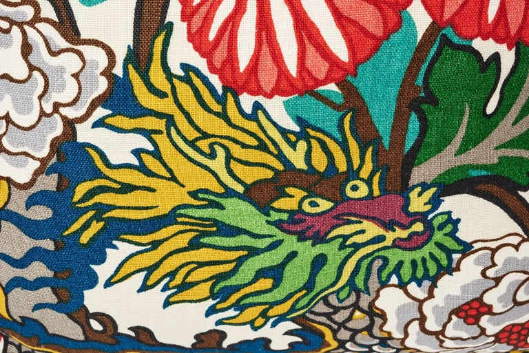 British Schumacher Chiang Mai Dragon Chinoiserie Alabaster Linen Two-Sided 18