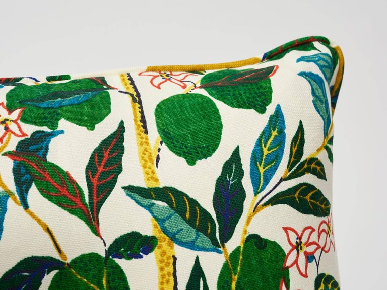Contemporary Schumacher Josef Frank Citrus Garden Primary Color Linen Two-Sided Pillow For Sale