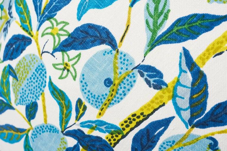 Contemporary Schumacher Josef Frank Citrus Garden Pool Blue Linen Two-Sided Pillow For Sale