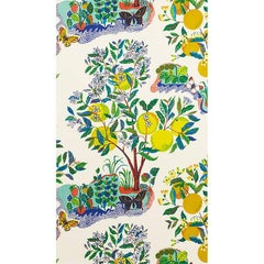 Schumacher Josef Frank Citrus Garden Floral Hand-Printed Wallpaper, Two Roll Set