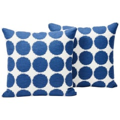 Schumacher Fuzz Large Scale Graphic Navy Linen Cotton Two-Sided Pillow, Pair