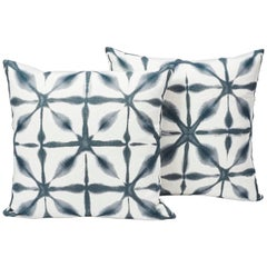 Schumacher Andromeda Shibori-Style Indigo White Linen Two-Sided Pillow, Pair
