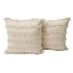 "Schumacher Acadia Woven Silky Fringe Stripe Greige Two-Sided 18"" Pillows, Pair"