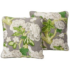 Schumacher Mary McDonald Bermuda Blossoms Slate Grey Two-Sided Pillows, Pair